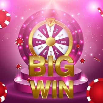 Grande vitória 777 loteria vector casino conceito com slot machine
