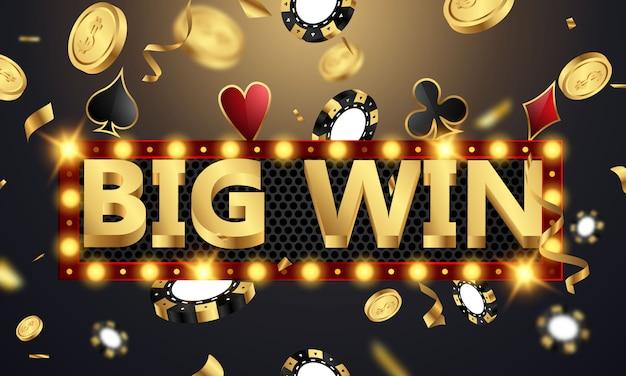 Grande vitória casino convite vip de luxo com bandeira de jogos de confete festa de celebração.