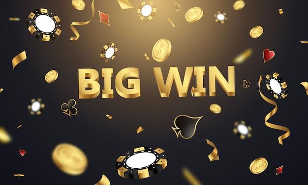 Grande vitória casino vip convite de luxo com confete fundo de bandeira de jogo de festa de celebração.