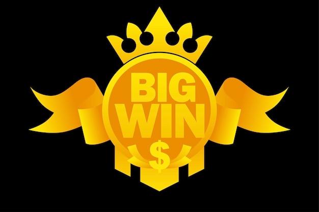 Grande vitória com fita de ouro, cifrão, coroa para jogos de interface do usuário. banner de ilustração vetorial com vitória de símbolo em fita de prêmio de caça-níqueis.