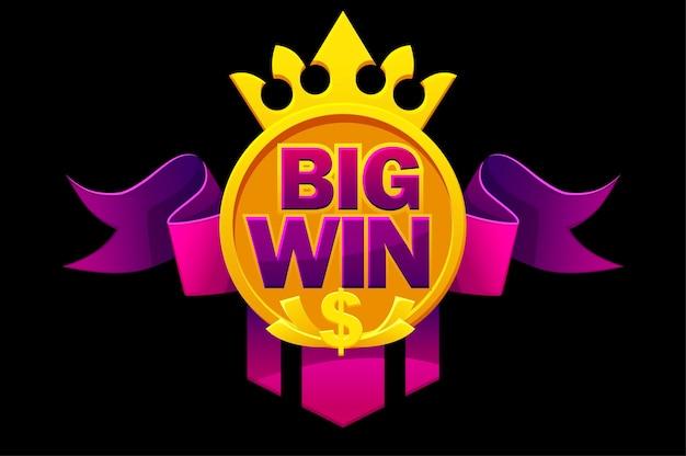 Grande vitória com fita roxa, cifrão, coroa para jogos de interface do usuário. banner de ilustração vetorial com vitória de símbolo para cassino.