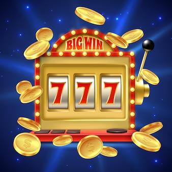 Grande vitória no jogo de cassino com números e ilustração de carretéis usinados