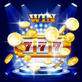 Grande vitória ou jackpot - slot machine e moedas, concerto de casino
