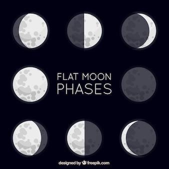 Grandes as fases da lua planas