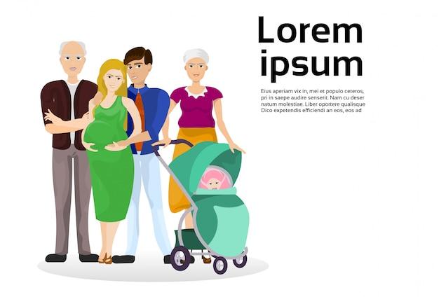 Grandes avós da família, mãe grávida, pai e carrinho de bebê. modelo de texto