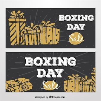 Grandes bandeiras desenhadas à mão para o boxing day com presentes castanhos