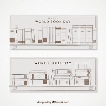 Grandes banners no estilo retro para o dia do livro do mundo