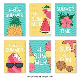 Grandes cartões do verão com variedade de projetos