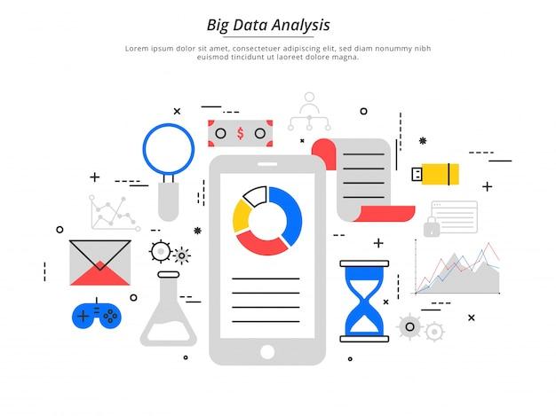 Grandes dados, alogoritmos de máquinas, segurança de conceito de análise e conceito de segurança. fin-tech (tecnologia financeira) de fundo. colorido estilo de ilustração plana.