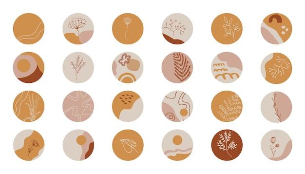 Grandes destaques do vetor cobrem o ícone definido para histórias de mídia social. fundos de coleção abstrata com formas, flores doodle, pontos e linhas. modelos redondos desenhados à mão para blogueiros contemporâneos.