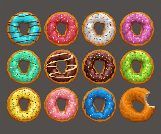 Grandes donuts definido no escuro