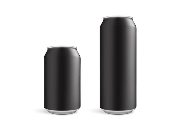 Grandes e pequenas latas pretas isoladas em branco Vetor Premium