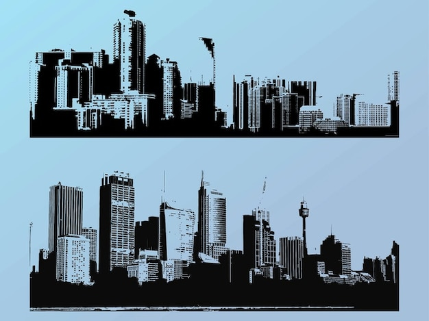 Grandes edifícios arranha-céus da cidade silhuetas