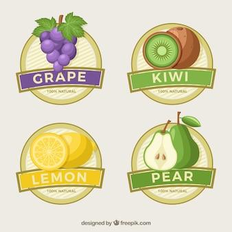 Grandes etiquetas redondas do suco de fruta