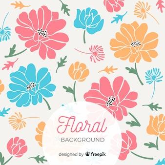Grandes flores coloridas com fundo de pétalas fofos