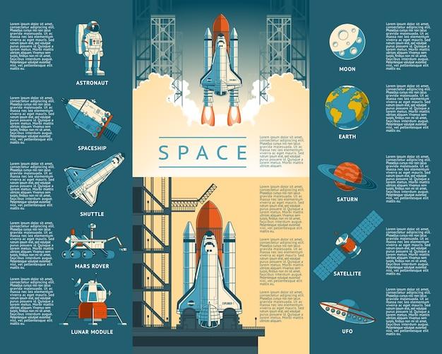 Grandes ícones de coleção do espaço