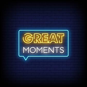 Grandes momentos sinais néon estilo texto