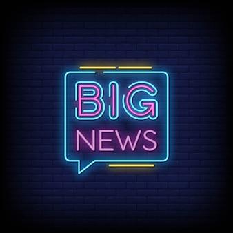 Grandes notícias sinais de néon estilo texto
