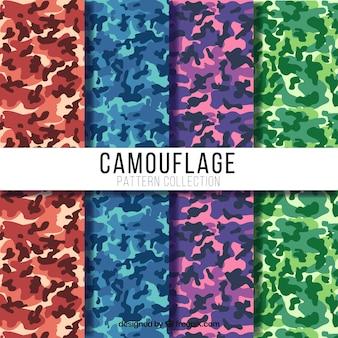 Grandes padrões de camuflagem com cores diferentes