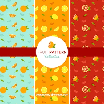 Grandes padrões de frutas planas