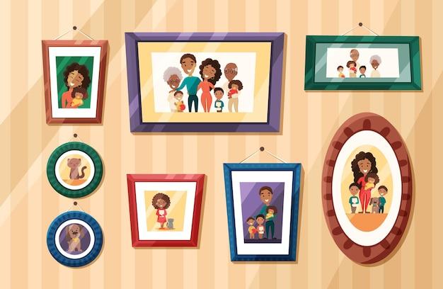 Grandes retratos de fotos de família afro-americana em molduras coloridas na parede