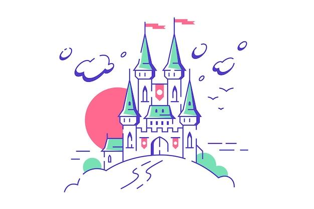 Grandes torres de castelo medieval de conto de fadas em fundo branco