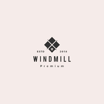 Granito da telha do moinho de vento e ícone do vetor do logotipo da bancada de mármore