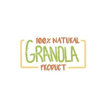 Granola 100 por cento logotipo do produto natural.