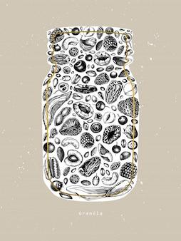 Granola jar vintage. ilustração gravada de pequeno-almoço saudável. granola caseira com frutos, cereais, frutos secos e moldura de nozes. modelo de comida saudável com elementos dourados e esboçados