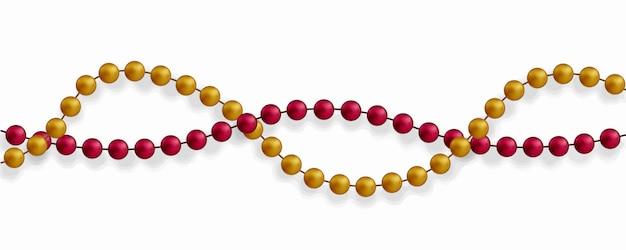 Grânulos coloridos em um fundo branco. linda cadeia de cores diferentes. contas puras são realistas. elemento decorativo de design de bola de ouro.