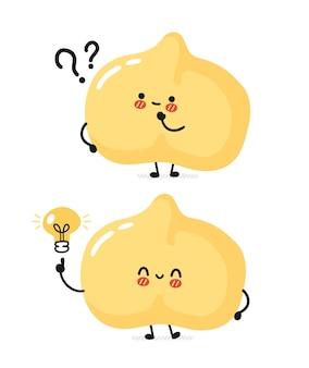 Grão-de-bico engraçado bonito com pontos de interrogação e lâmpada de ideia.