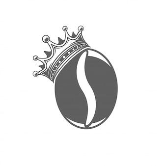 Grão de café com ilustração vetorial de coroa. silhueta de feijão isolada no fundo branco.