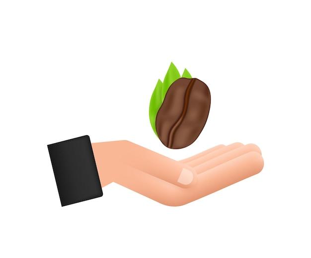 Grão de café de ícone de vetor sobre as mãos para rótulo de café, embalagem e emblema.