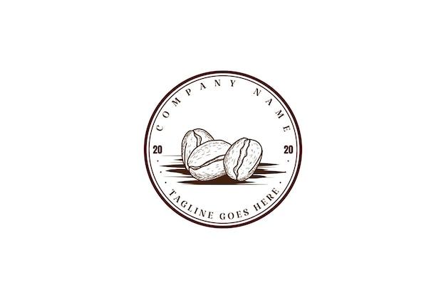 Grão de café retro vintage para café restaurante bistrô fazenda rótulo de produto design de logotipo em vetor