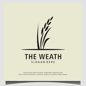 Grão weath arroz logo design vector