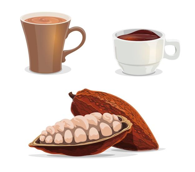 Grãos de cacau, cacau, chocolate quente ou vetor dos desenhos animados de café de alimentos e bebidas.
