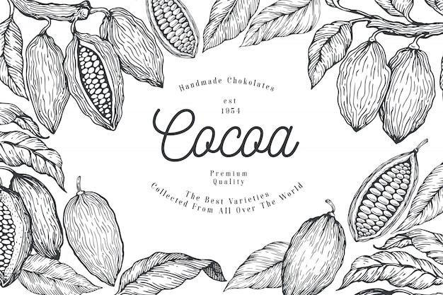 Grãos de cacau com chocolate