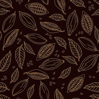 Grãos de cacau e folhas de cacau padrão sem emenda desenho de folhas de cacau