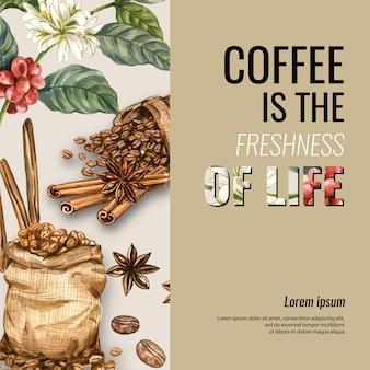 Grãos de café arábica saco com xícara de café americano, canela café ilustração em aquarela