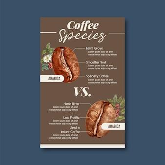 Grãos de café assado de café arábica queimam tipo de café, infográfico com ilustração em aquarela de texto