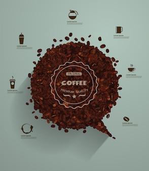 Grãos de café com bolhas do discurso vazio