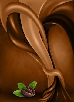 Grãos de café e folhas no fundo escuro abstrato