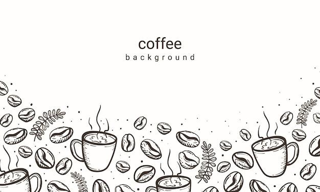 Grãos de café e fundo de xícara de café