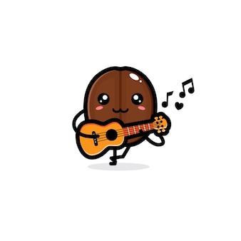 Grãos de café fofos tocando ukulele