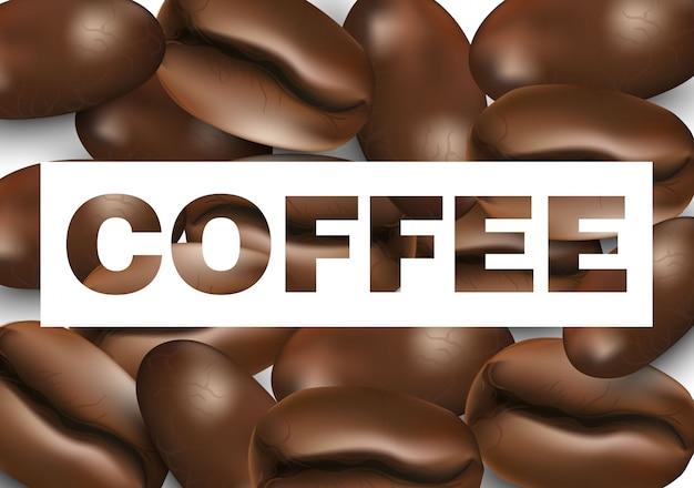 Grãos de café realistas em texto de café