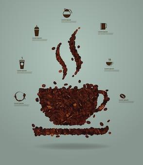 Grãos de café torrados, colocados em forma de um copo, design de modelo de layout moderno de ilustração vetorial