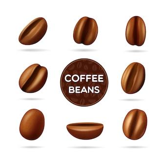 Grãos de café torrados escuros definido em posições diferentes e rótulo redondo