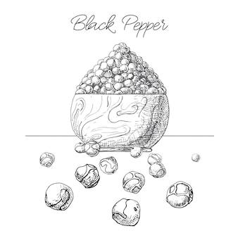 Grãos de pimenta-do-reino em uma tigela de madeira. pimenta preta desenhada de mão isolada no fundo branco. ilustração de um estilo de desenho.