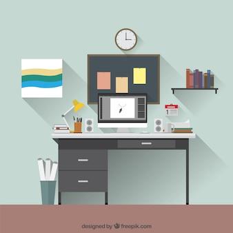 Graphic local de trabalho de designer
