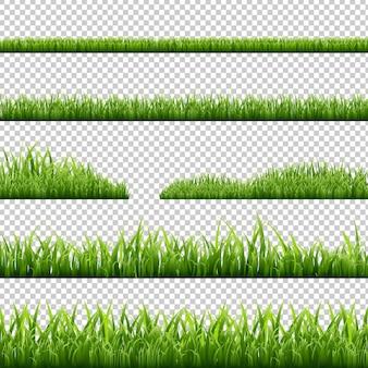 Grass borders set isolated illustration